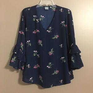NY&Co. SOHO Navy Floral Print Boho blouse Medium